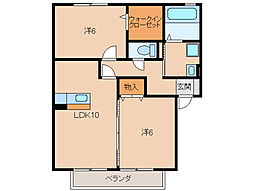 和歌山県岩出市中黒の賃貸アパートの間取り