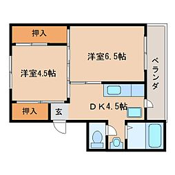 JR桜井線 巻向駅 徒歩6分の賃貸マンション 4階2DKの間取り