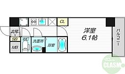 アスヴェル新大阪SOUTH 5階1Kの間取り