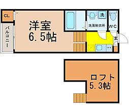 愛知県名古屋市瑞穂区惣作町3丁目の賃貸アパートの間取り