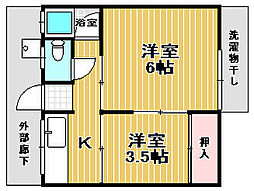 増田文化[2F南3号室]の間取り