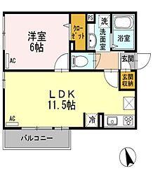 東京都小平市上水新町2丁目の賃貸アパートの間取り