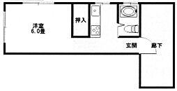 コーポラス宮戸[2D号室]の間取り