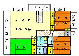 福岡県福岡市東区名子3丁目の賃貸マンションの間取り