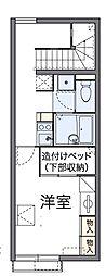 京王高尾線 狭間駅 徒歩12分の賃貸アパート 2階1Kの間取り
