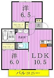 埼玉県三郷市花和田の賃貸アパートの間取り