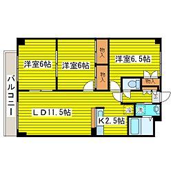 北海道札幌市東区北二十六条東14丁目の賃貸マンションの間取り