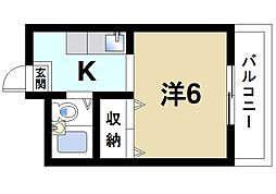 奈良県奈良市法蓮町の賃貸マンションの間取り
