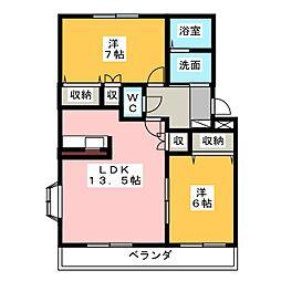 アンジュ神ノ倉B[1階]の間取り