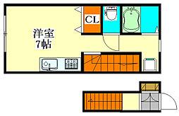 アースプレイス田喜野井[2階]の間取り