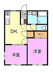 ハイツTAMAE[2階]の間取り