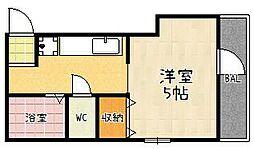 REGIA伏見新町 1階1Kの間取り