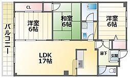 晋和ビル 4階3LDKの間取り