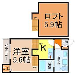 愛知県名古屋市北区東水切町1丁目の賃貸アパートの間取り