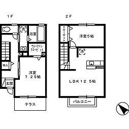 [テラスハウス] 徳島県徳島市安宅2丁目 の賃貸【徳島県 / 徳島市】の間取り