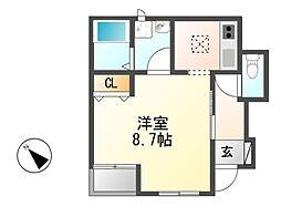 愛知県名古屋市中川区尾頭橋3丁目の賃貸アパートの間取り