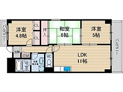 南山寿ガーデン[6階]の間取り