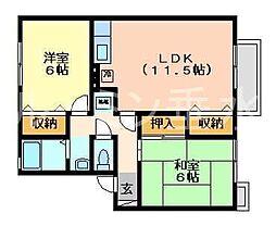 エスポワール2棟[1階]の間取り
