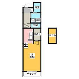 GRACE COURT SHIZUOKA 1階ワンルームの間取り