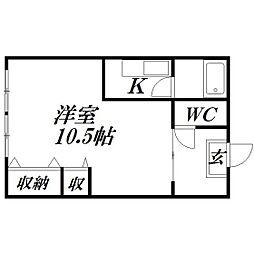静岡県浜松市中区小豆餅4丁目の賃貸アパートの間取り