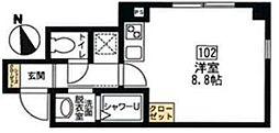 ブリティッシュクラブ宮川町 1階ワンルームの間取り