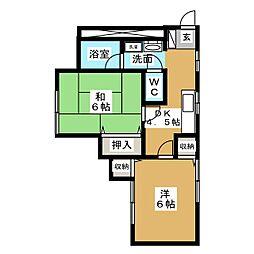 サンフラッツI[1階]の間取り