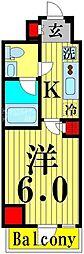 GENOVIA綾瀬sky garden 11階1Kの間取り