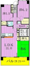 千葉県松戸市小金きよしケ丘3丁目の賃貸マンションの間取り