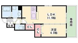 D-room曾和 1階1LDKの間取り