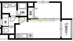 東急東横線 都立大学駅 徒歩2分の賃貸マンション 1階1LDKの間取り