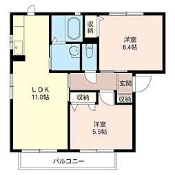 ソレイユ浜田 壱番館[2階]の間取り