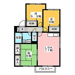 ダス・シュロス吉田 B棟[2階]の間取り