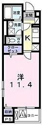 横浜市営地下鉄ブルーライン 湘南台駅 徒歩6分の賃貸アパート 2階1Kの間取り