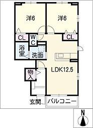 サニー・カーサII B棟[1階]の間取り