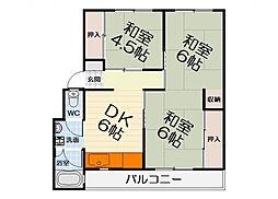 南海北野田グリーンハイツ[4階]の間取り