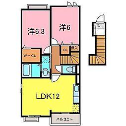 愛知県岡崎市北野町字畔北の賃貸アパートの間取り