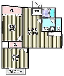 シャングリラ深井[2階]の間取り