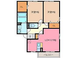 カーサハーモニー B棟[2階]の間取り