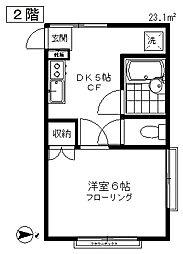 東京都調布市国領町1丁目の賃貸アパートの間取り