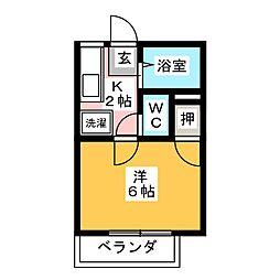 フローレンス富岡 A 2階1Kの間取り