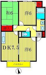 千葉県松戸市幸田2の賃貸アパートの間取り