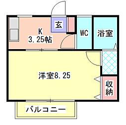 メゾンヤツハシII[1階]の間取り