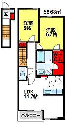 ハクモクレンC棟[2階]の間取り