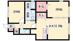 サンガーデン田中[103号室]の間取り
