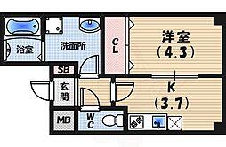 パークステージ夙川 3階1DKの間取り