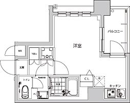 都営大江戸線 若松河田駅 徒歩4分の賃貸マンション 4階ワンルームの間取り
