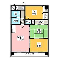 デュエム福島[4階]の間取り