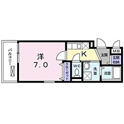 JR中央線 中野駅 徒歩13分の賃貸マンション 3階1Kの間取り