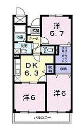 広島県福山市曙町2丁目の賃貸マンションの間取り