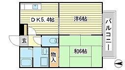 兵庫県姫路市飾磨区構5の賃貸アパートの間取り